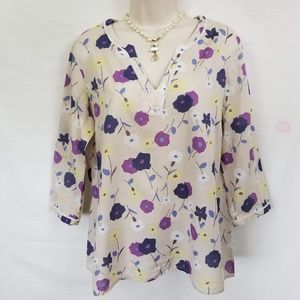 Boden 3/4 Sleeve Pullover Blouse Floral Print 10